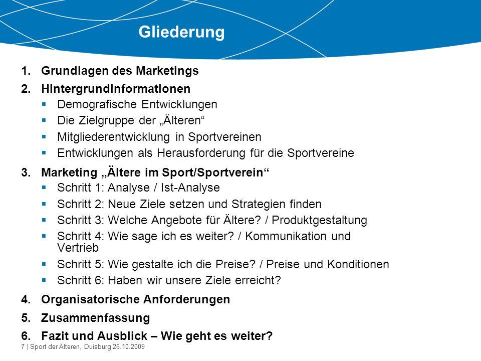 Gliederung Grundlagen des Marketings Hintergrundinformationen