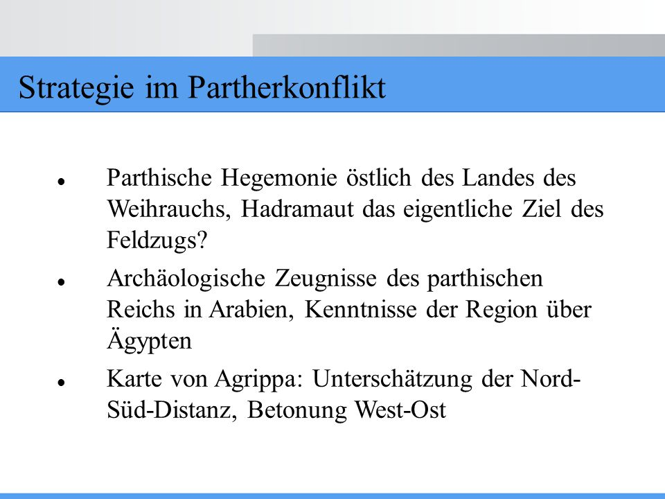 Strategie im Partherkonflikt