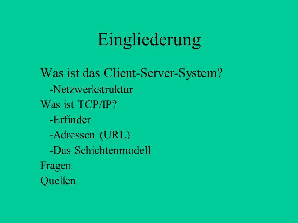 Eingliederung Was ist das Client-Server-System -Netzwerkstruktur
