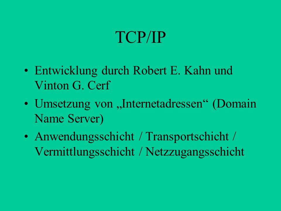 TCP/IP Entwicklung durch Robert E. Kahn und Vinton G. Cerf