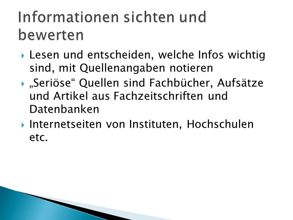 Informationen sichten und bewerten