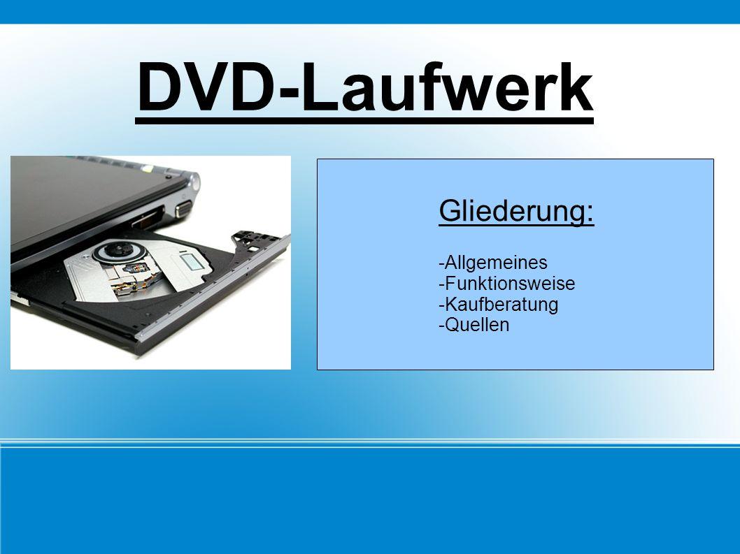 DVD-Laufwerk Gliederung: -Allgemeines -Funktionsweise -Kaufberatung