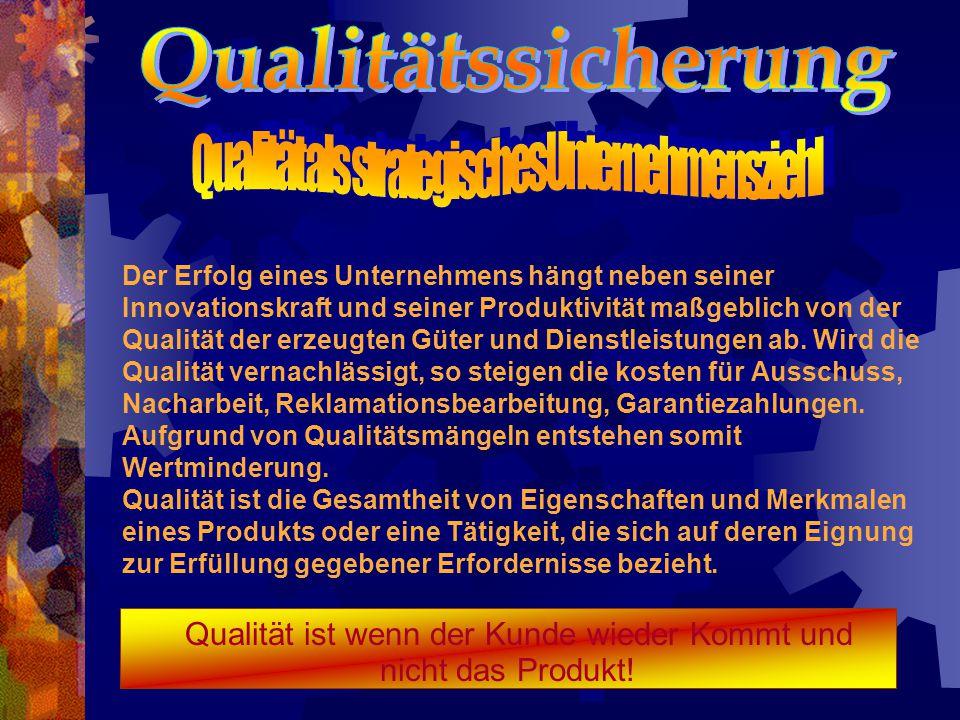 Qualität ist wenn der Kunde wieder Kommt und nicht das Produkt!