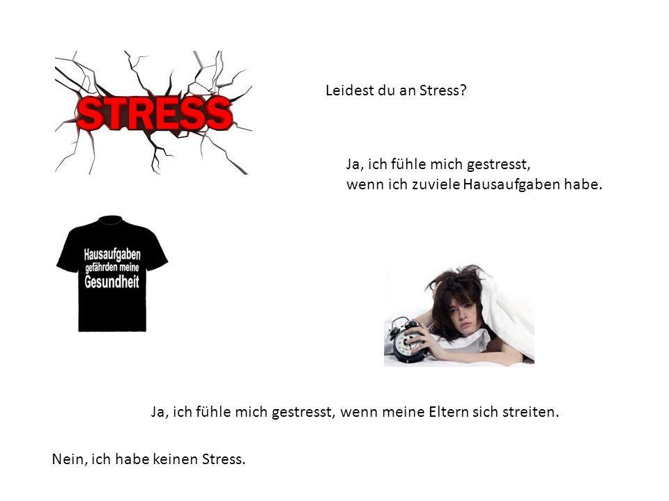 Leidest du an Stress Ja, ich fühle mich gestresst, wenn ich zuviele Hausaufgaben habe.