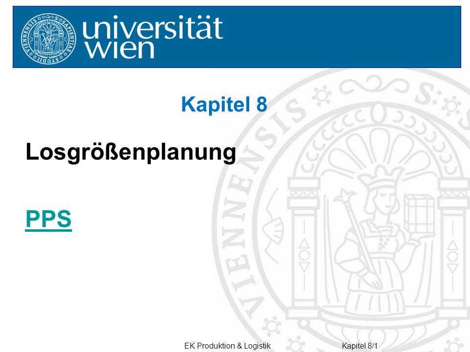 Kapitel 8 Losgrößenplanung PPS EK Produktion & Logistik