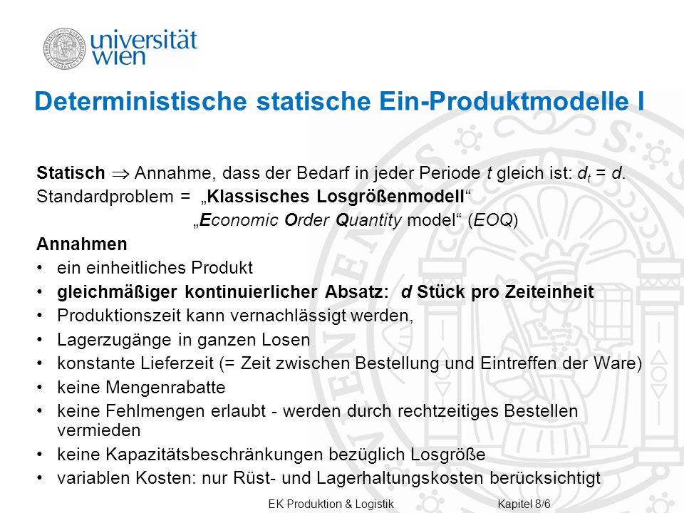Deterministische statische Ein-Produktmodelle I