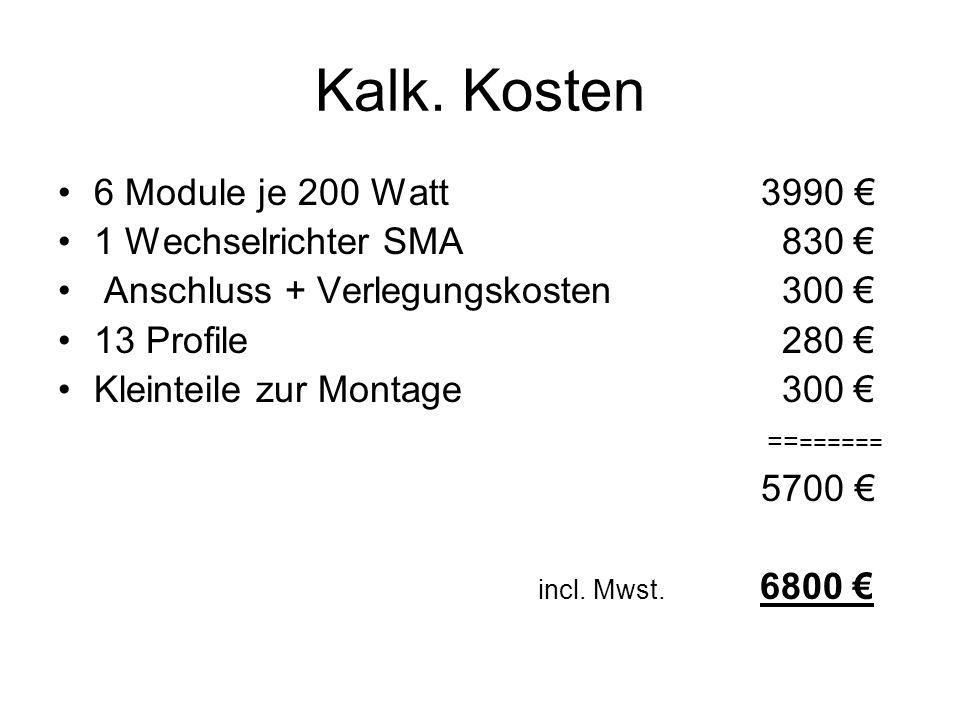 Kalk. Kosten 6 Module je 200 Watt 3990 € 1 Wechselrichter SMA 830 €