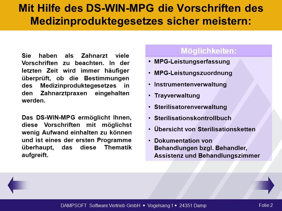 Mit Hilfe des DS-WIN-MPG die Vorschriften des Medizinproduktegesetzes sicher meistern: