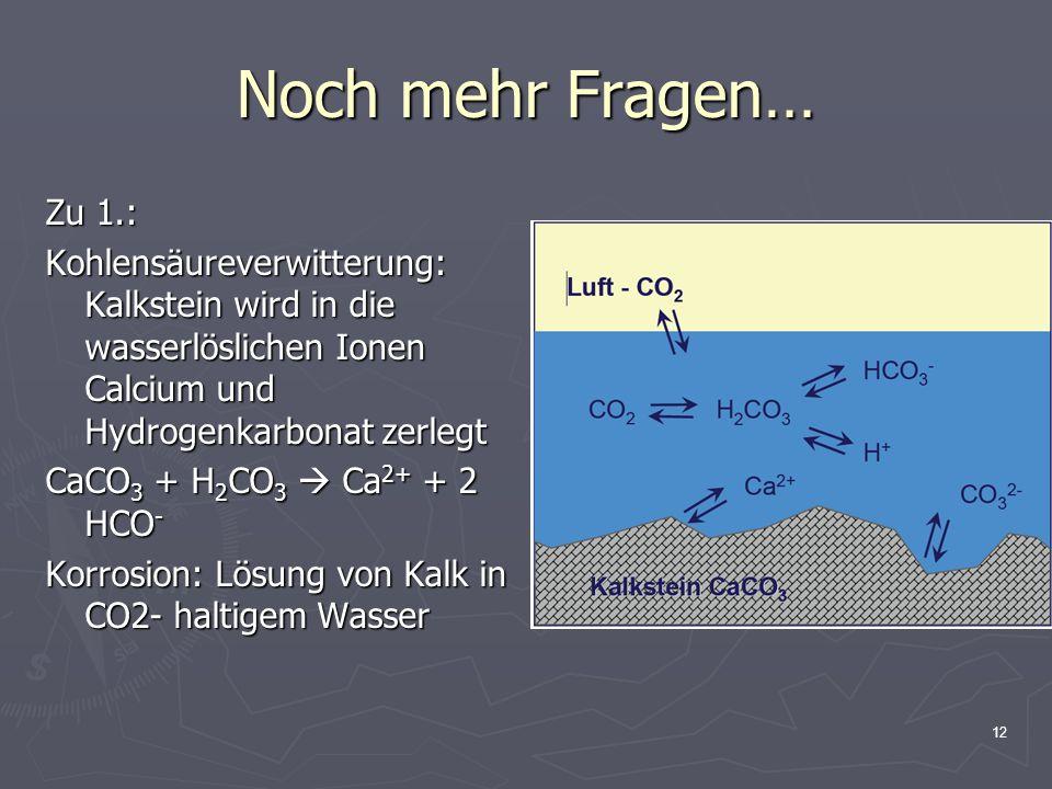 Noch mehr Fragen… Zu 1.: Kohlensäureverwitterung: Kalkstein wird in die wasserlöslichen Ionen Calcium und Hydrogenkarbonat zerlegt.