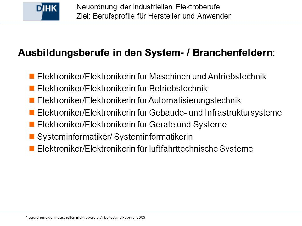 Ausbildungsberufe in den System- / Branchenfeldern: