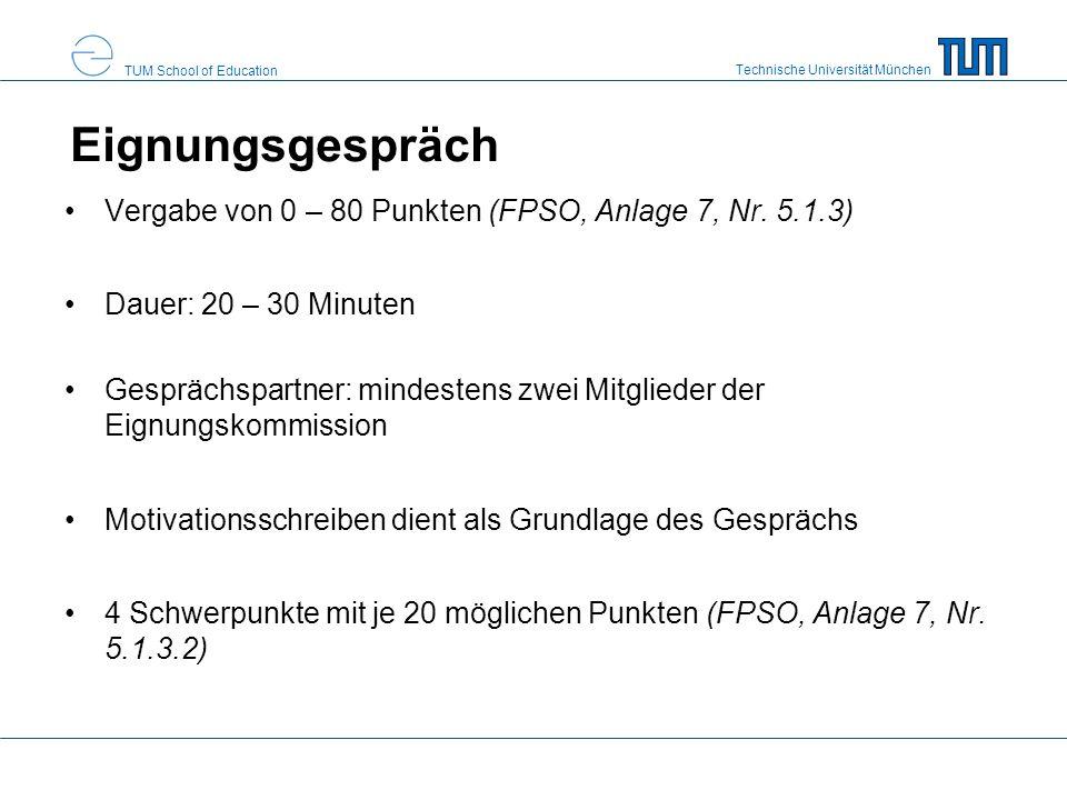 Eignungsgespräch Vergabe von 0 – 80 Punkten (FPSO, Anlage 7, Nr. 5.1.3) Dauer: 20 – 30 Minuten.