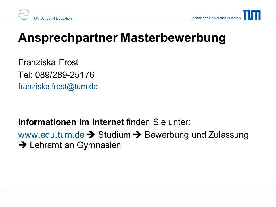 Ansprechpartner Masterbewerbung