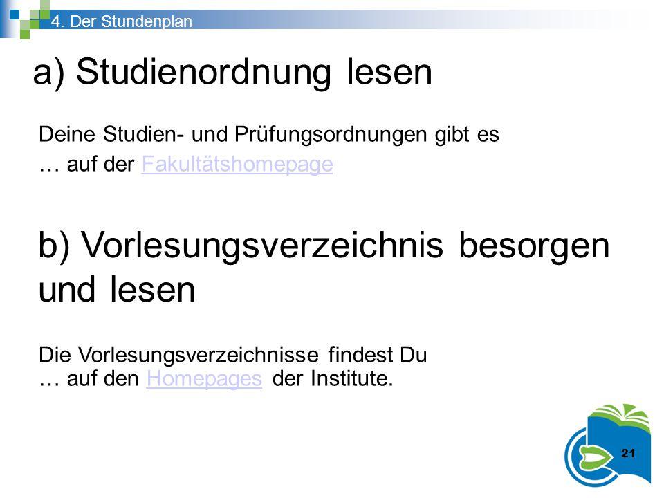 a) Studienordnung lesen