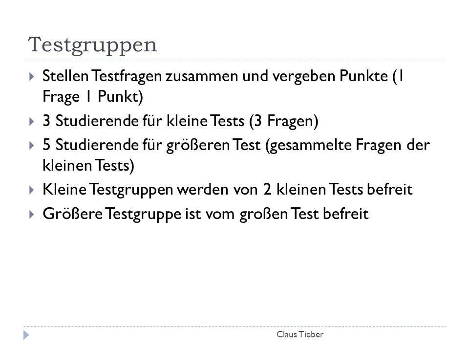 Testgruppen Stellen Testfragen zusammen und vergeben Punkte (1 Frage 1 Punkt) 3 Studierende für kleine Tests (3 Fragen)