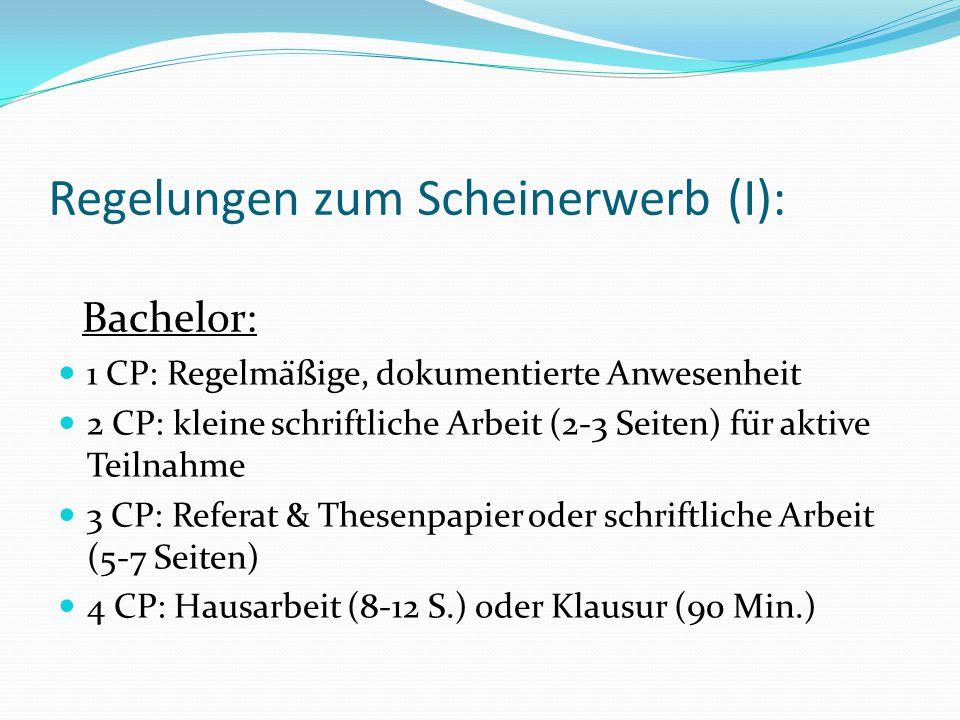 Regelungen zum Scheinerwerb (I):