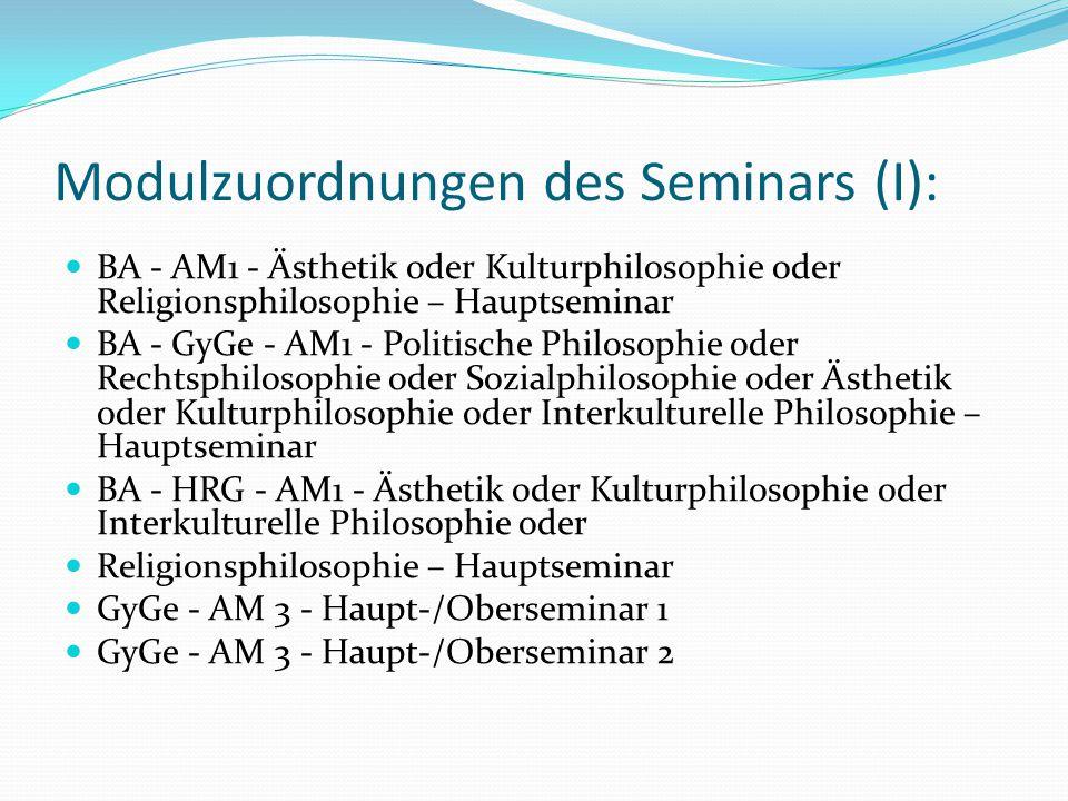 Modulzuordnungen des Seminars (I):