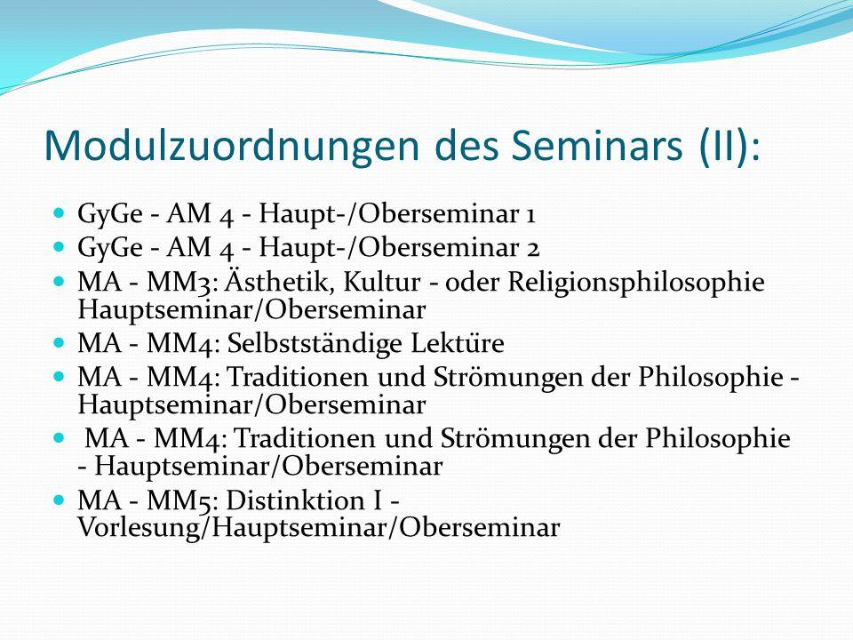 Modulzuordnungen des Seminars (II):