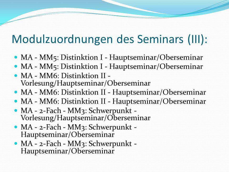 Modulzuordnungen des Seminars (III):