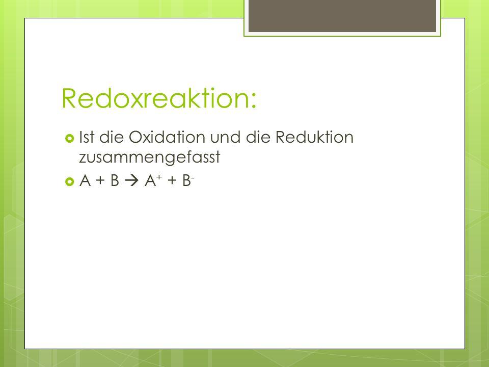 Redoxreaktion: Ist die Oxidation und die Reduktion zusammengefasst
