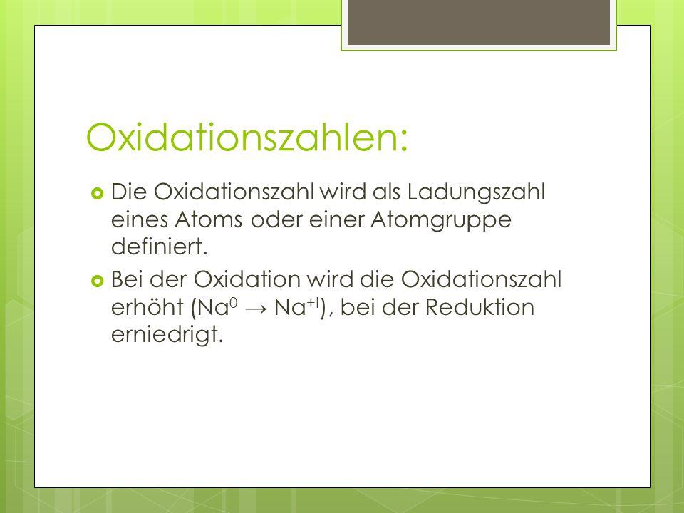 Oxidationszahlen: Die Oxidationszahl wird als Ladungszahl eines Atoms oder einer Atomgruppe definiert.
