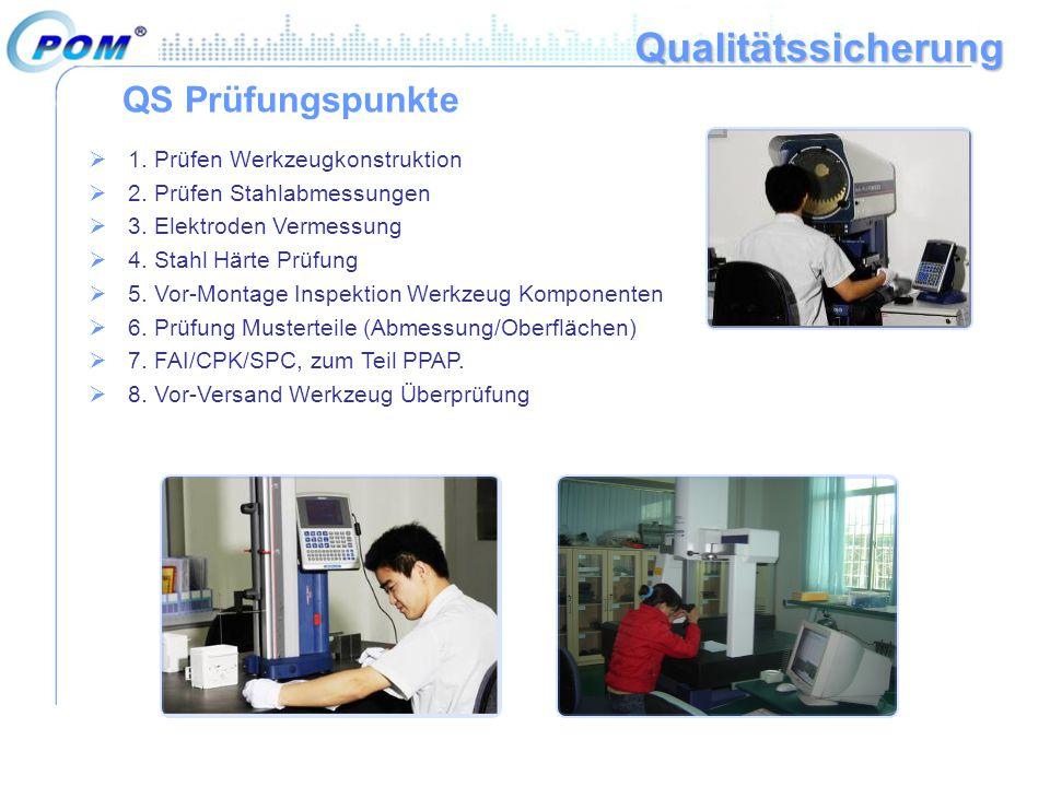 Qualitätssicherung QS Prüfungspunkte 1. Prüfen Werkzeugkonstruktion