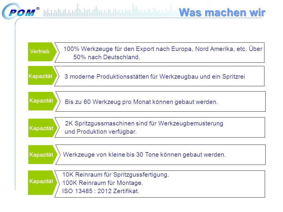 Was machen wir 100% Werkzeuge für den Export nach Europa, Nord Amerika, etc. Über 50% nach Deutschland.