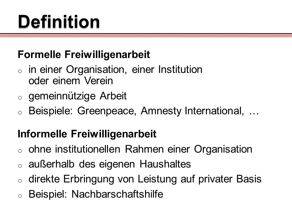 Definition Formelle Freiwilligenarbeit