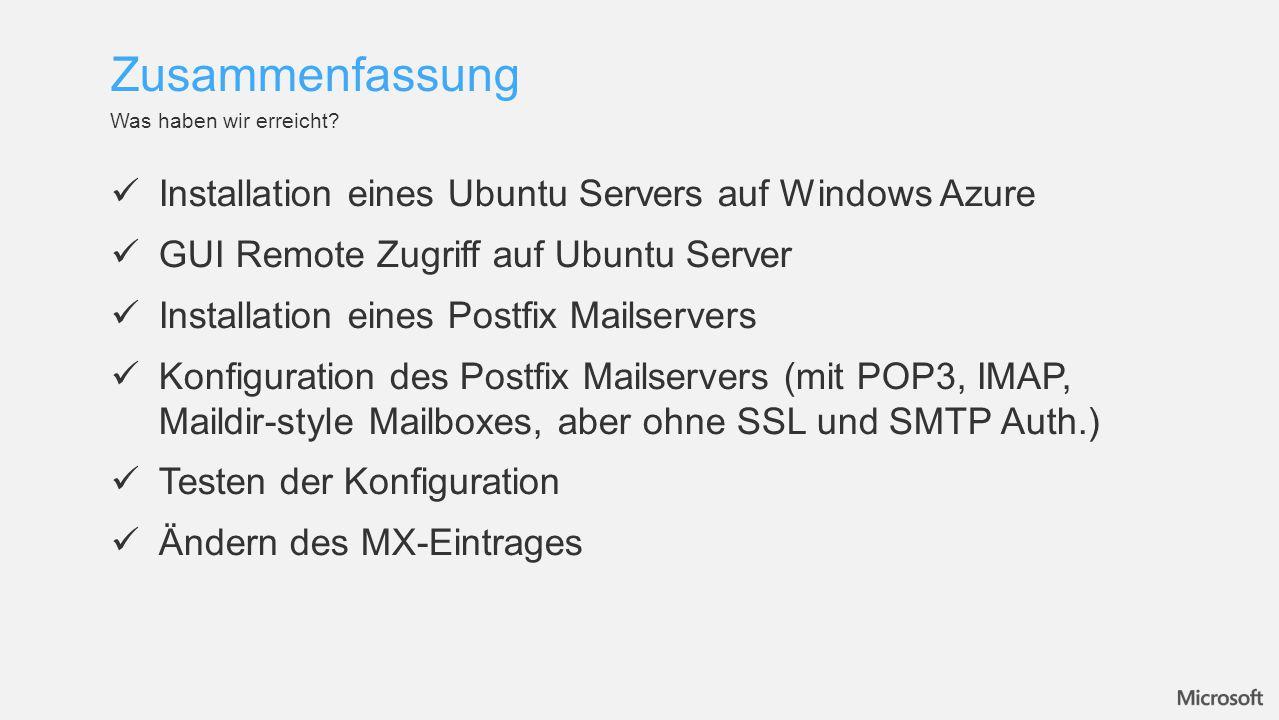 Zusammenfassung Installation eines Ubuntu Servers auf Windows Azure