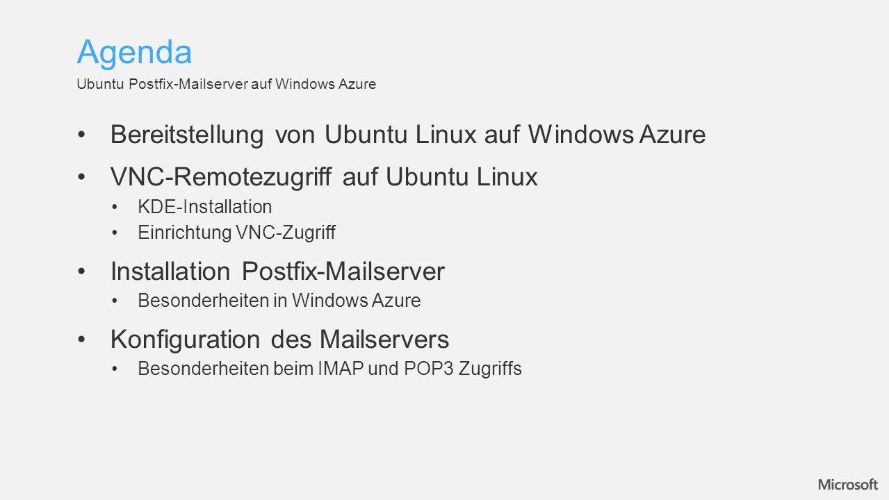 Agenda Bereitstellung von Ubuntu Linux auf Windows Azure