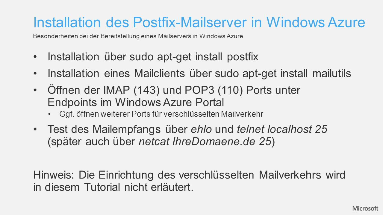 Installation des Postfix-Mailserver in Windows Azure