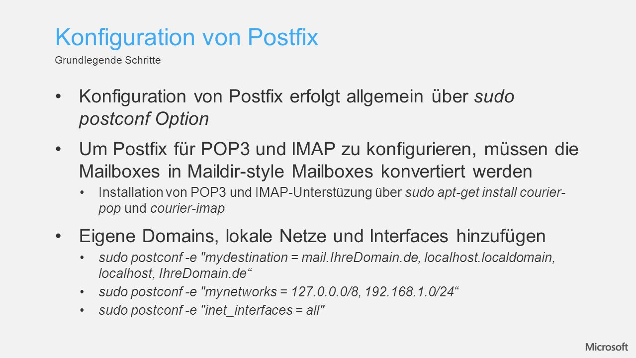 Konfiguration von Postfix
