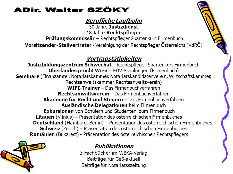 ADir. Walter SZÖKY Berufliche Laufbahn Vortragstätigkeiten