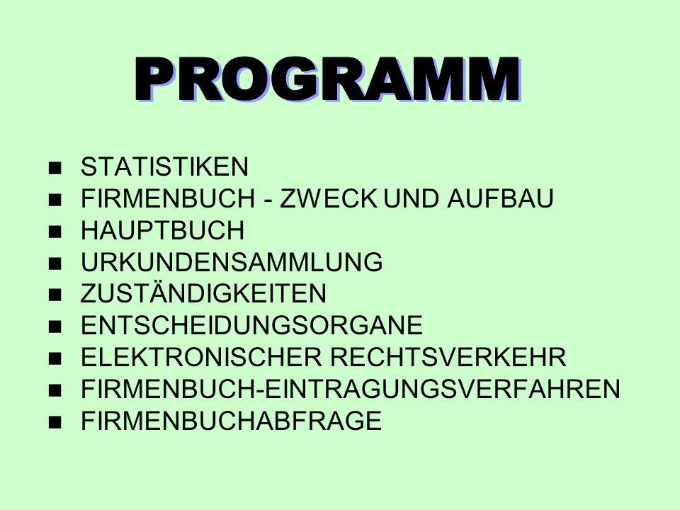 PROGRAMM STATISTIKEN FIRMENBUCH - ZWECK UND AUFBAU HAUPTBUCH