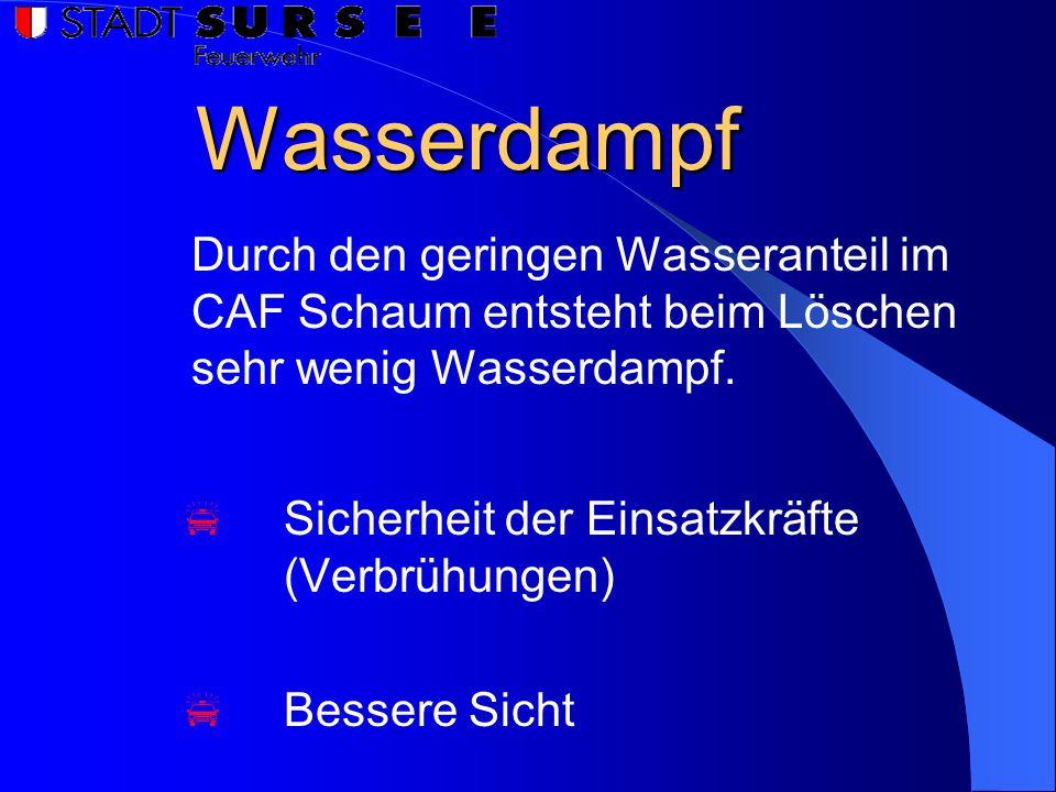 Wasserdampf Durch den geringen Wasseranteil im CAF Schaum entsteht beim Löschen sehr wenig Wasserdampf.