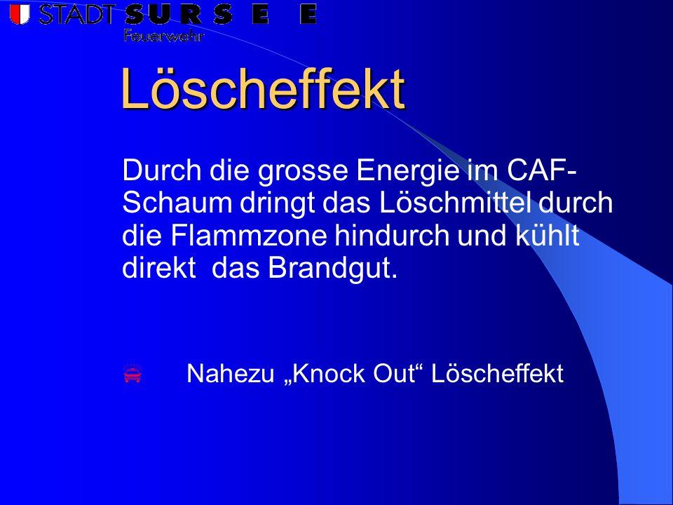 Löscheffekt Durch die grosse Energie im CAF-Schaum dringt das Löschmittel durch die Flammzone hindurch und kühlt direkt das Brandgut.