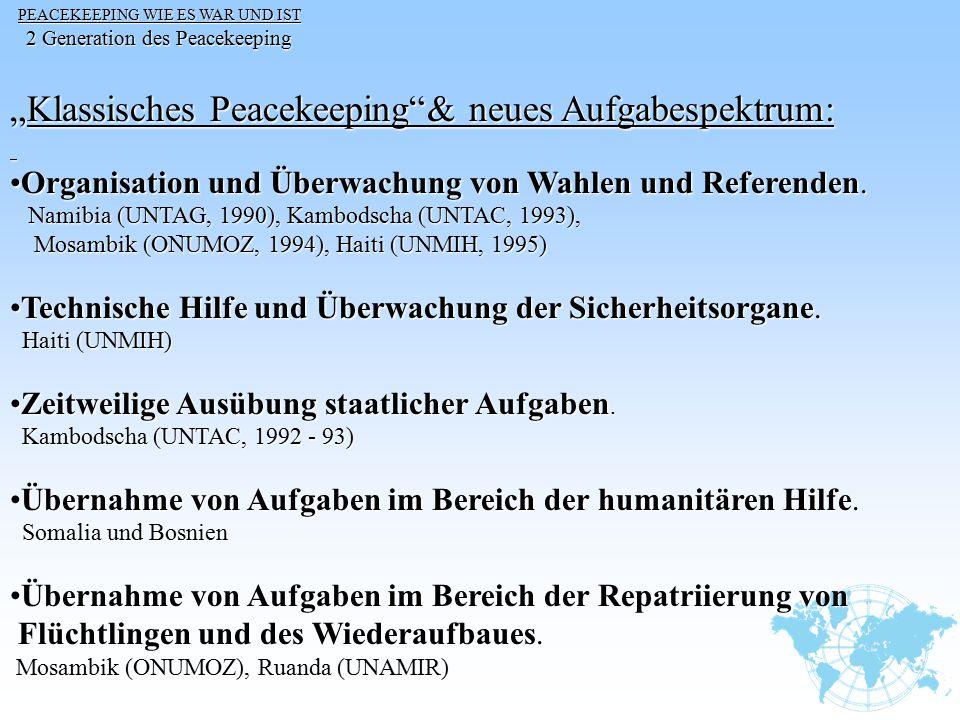 """""""Klassisches Peacekeeping & neues Aufgabespektrum:"""