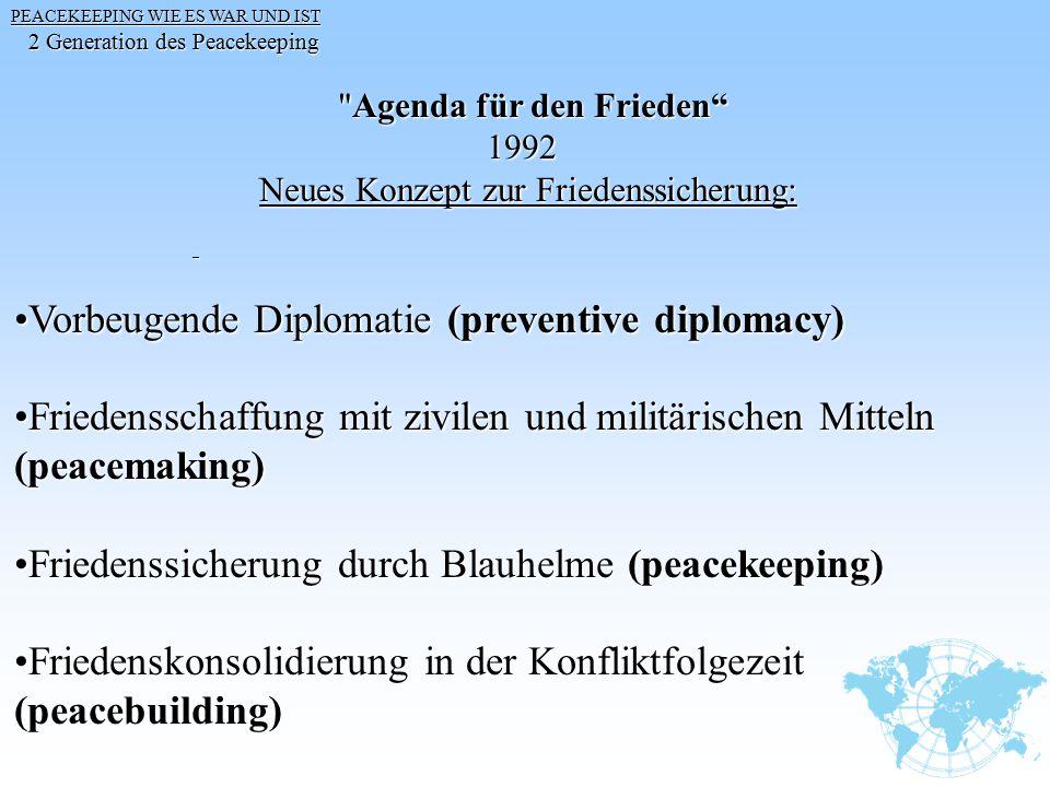 Vorbeugende Diplomatie (preventive diplomacy)