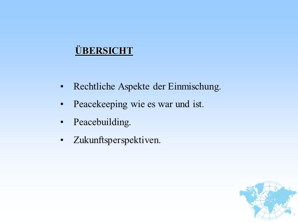 ÜBERSICHT Rechtliche Aspekte der Einmischung. Peacekeeping wie es war und ist.