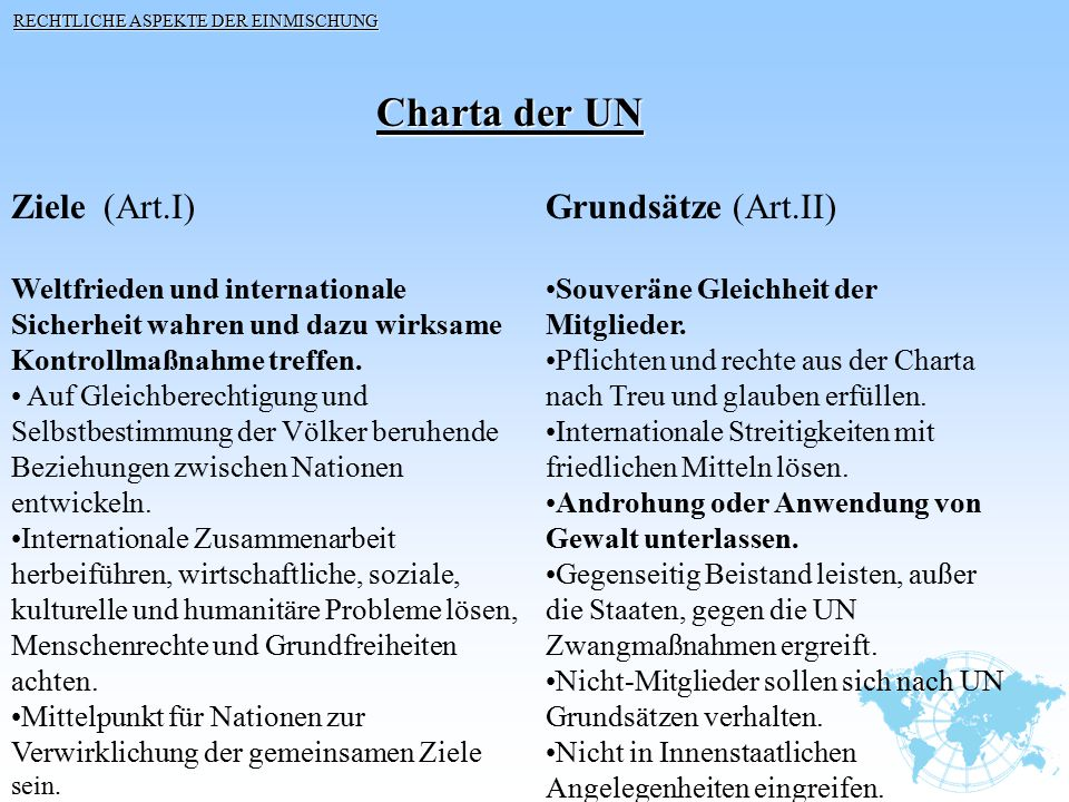 Charta der UN Ziele (Art.I) Grundsätze (Art.II)
