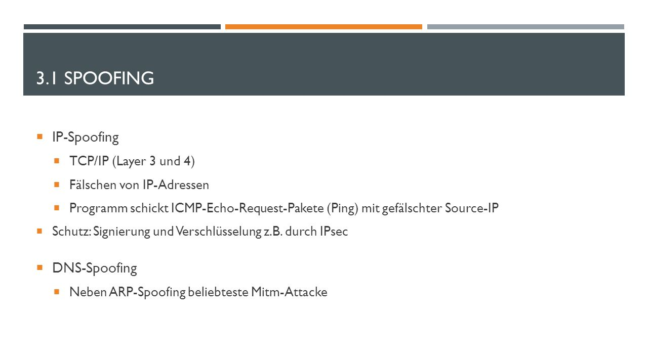 3.1 Spoofing IP-Spoofing DNS-Spoofing TCP/IP (Layer 3 und 4)