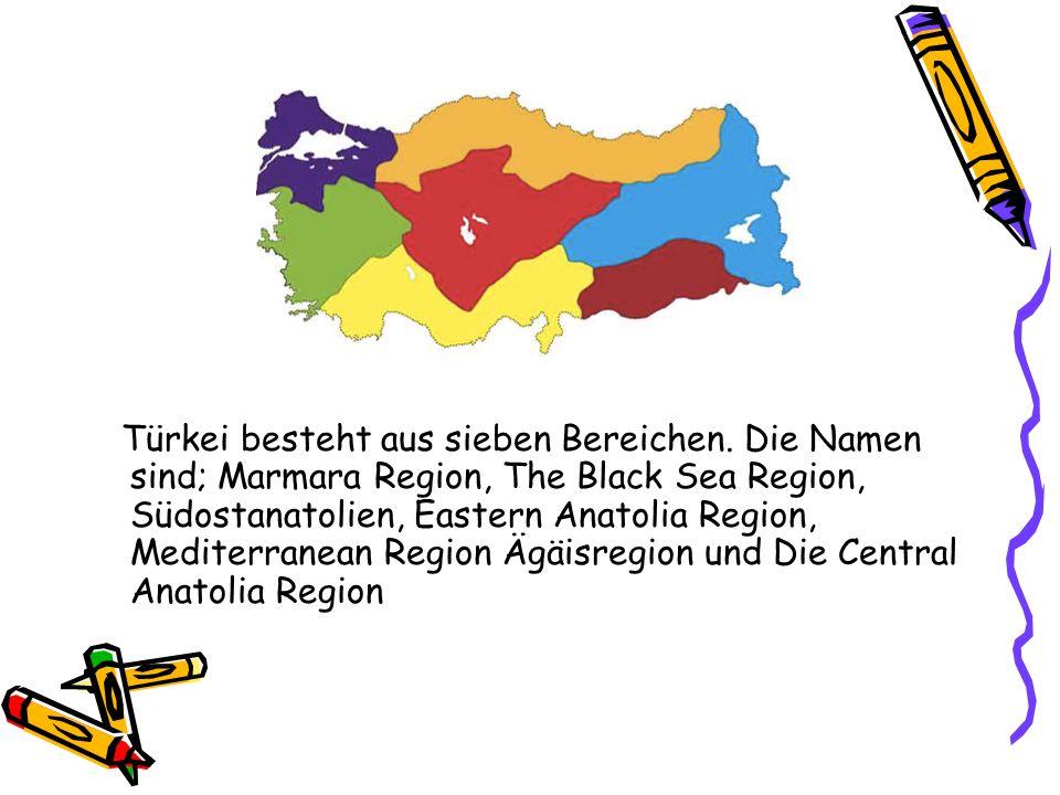 Türkei besteht aus sieben Bereichen