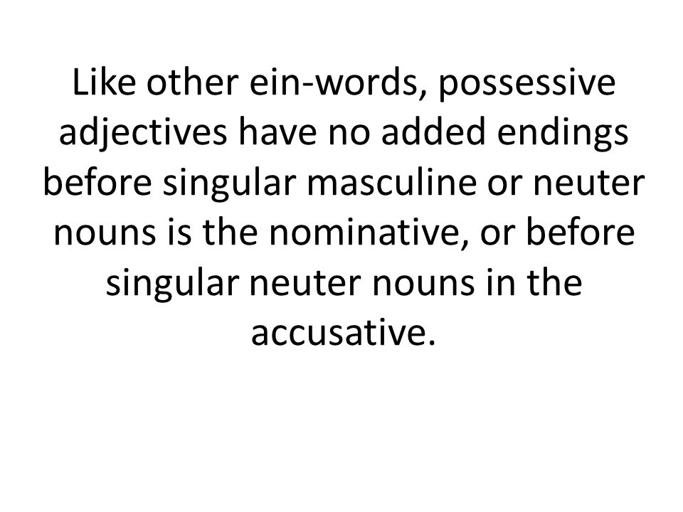Like other ein-words, possessive adjectives have no added endings before singular masculine or neuter nouns is the nominative, or before singular neuter nouns in the accusative.