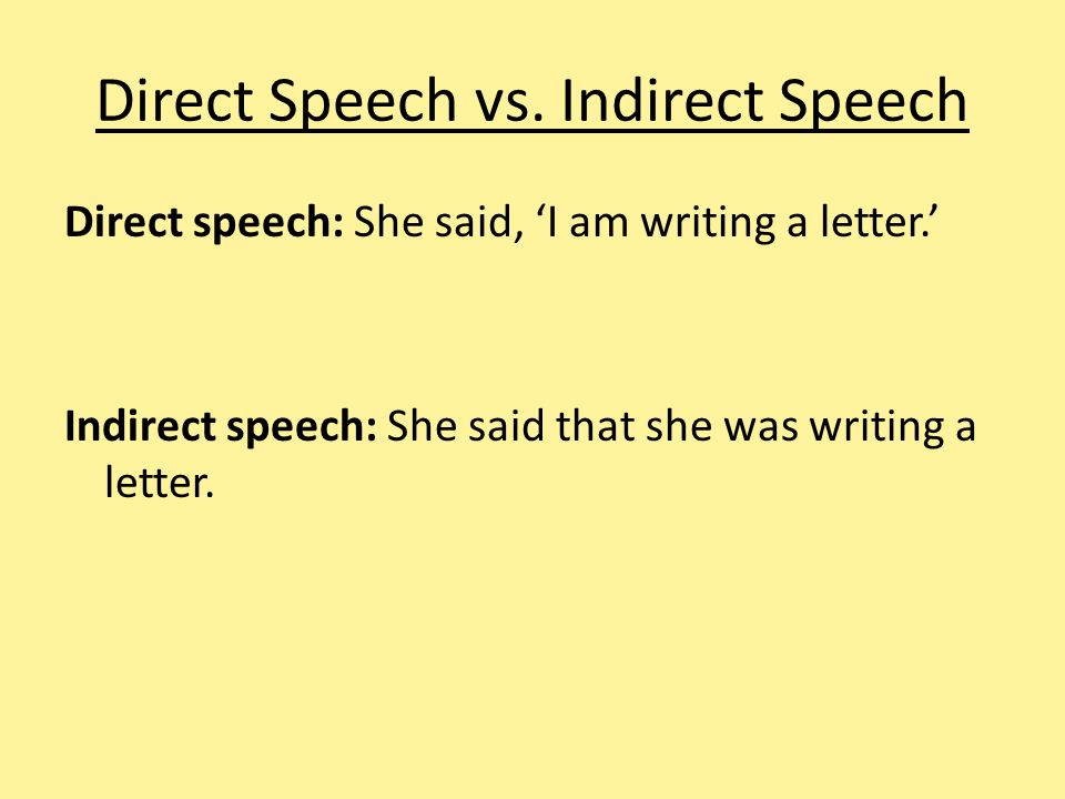 Direct Speech vs. Indirect Speech