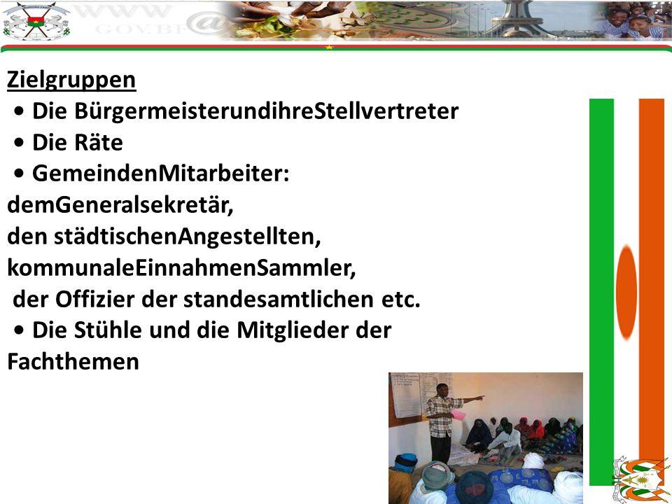 Zielgruppen • Die BürgermeisterundihreStellvertreter. • Die Räte. • GemeindenMitarbeiter: demGeneralsekretär,
