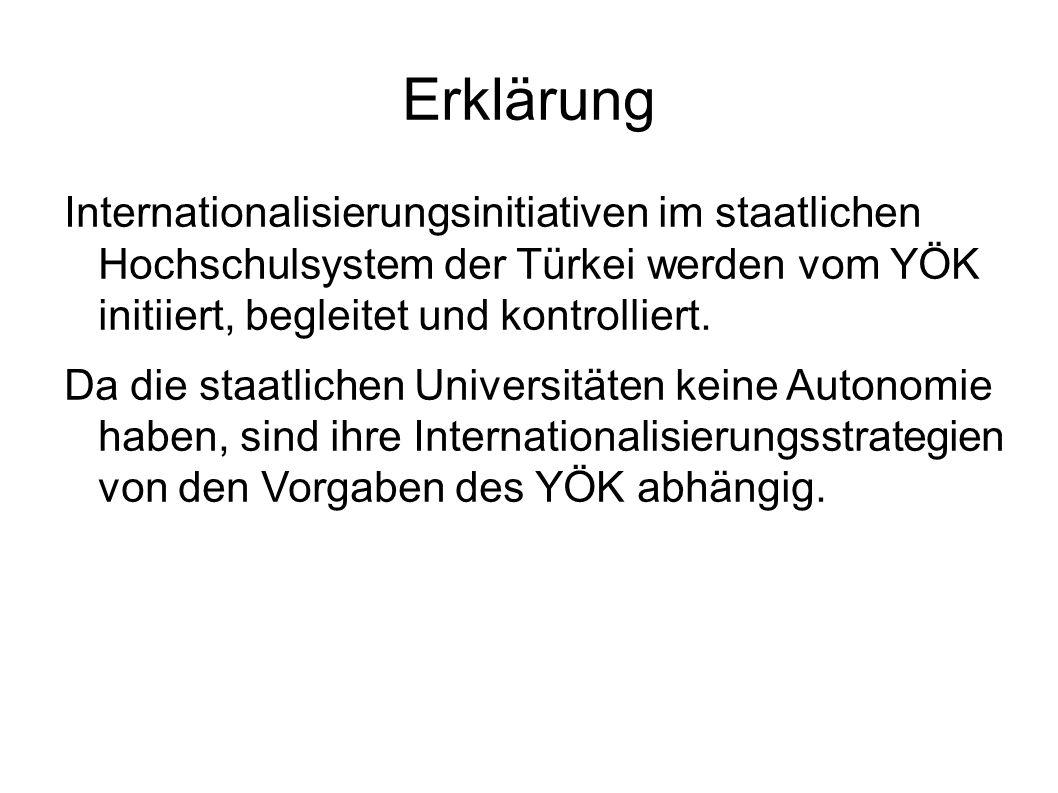 Erklärung Internationalisierungsinitiativen im staatlichen Hochschulsystem der Türkei werden vom YÖK initiiert, begleitet und kontrolliert.
