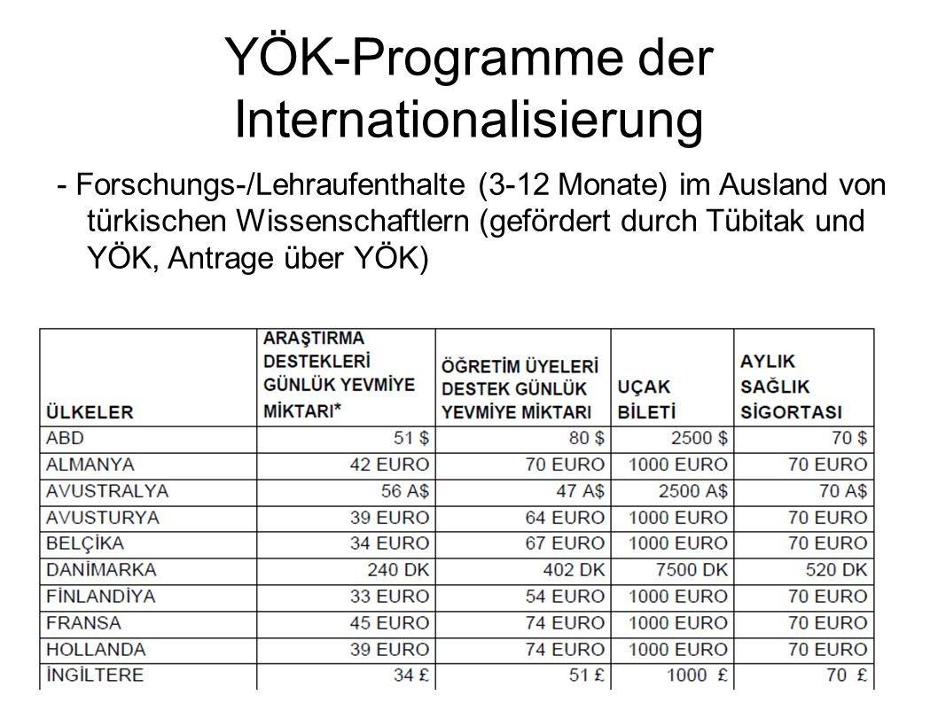YÖK-Programme der Internationalisierung
