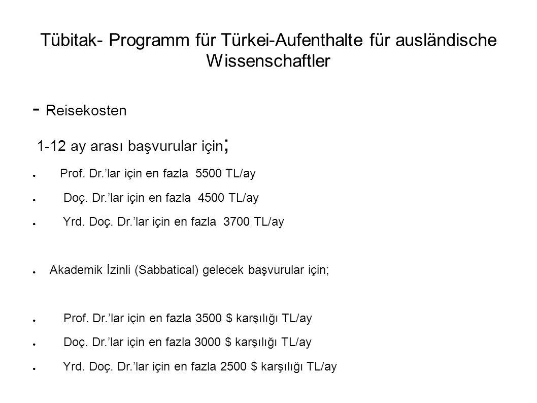 Tübitak- Programm für Türkei-Aufenthalte für ausländische Wissenschaftler