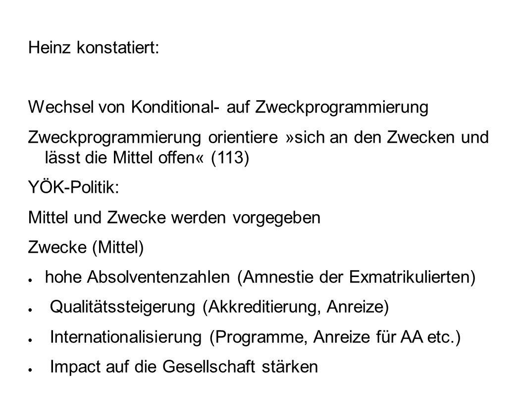 Heinz konstatiert: Wechsel von Konditional- auf Zweckprogrammierung.