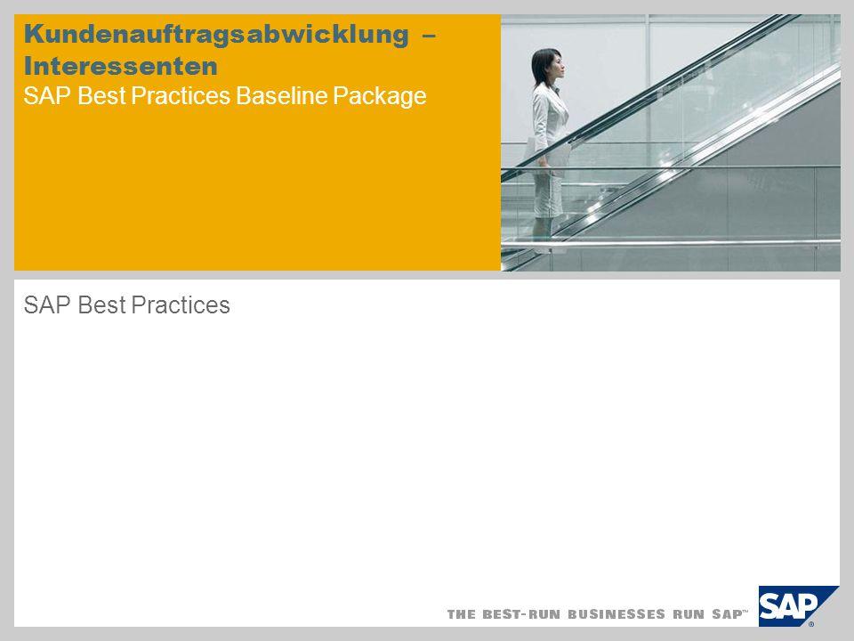 Kundenauftragsabwicklung – Interessenten SAP Best Practices Baseline Package