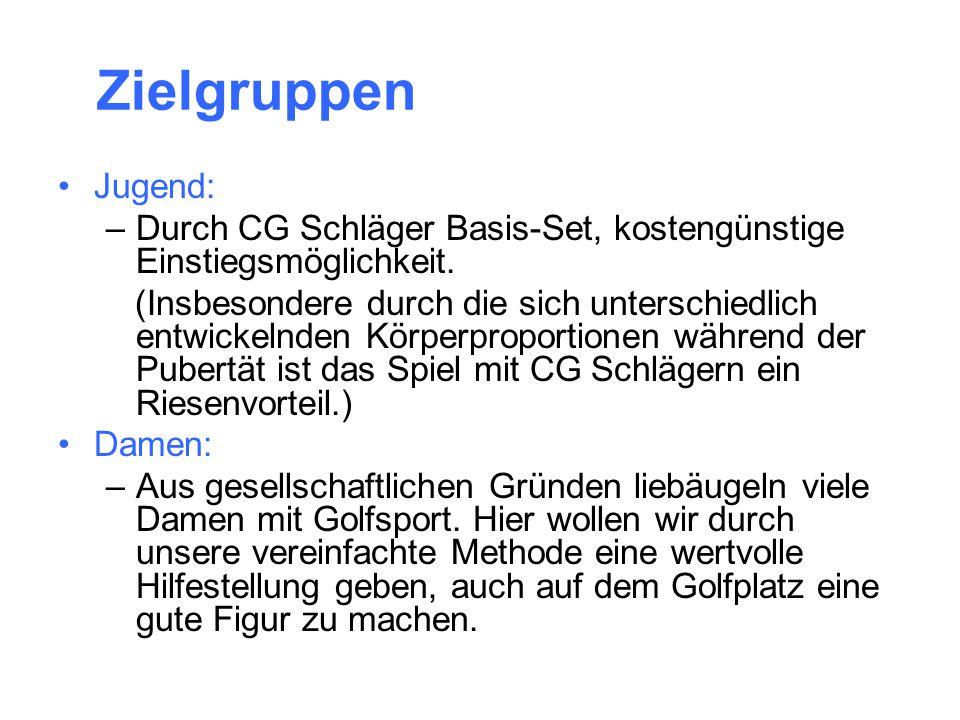 Zielgruppen Jugend: Durch CG Schläger Basis-Set, kostengünstige Einstiegsmöglichkeit.
